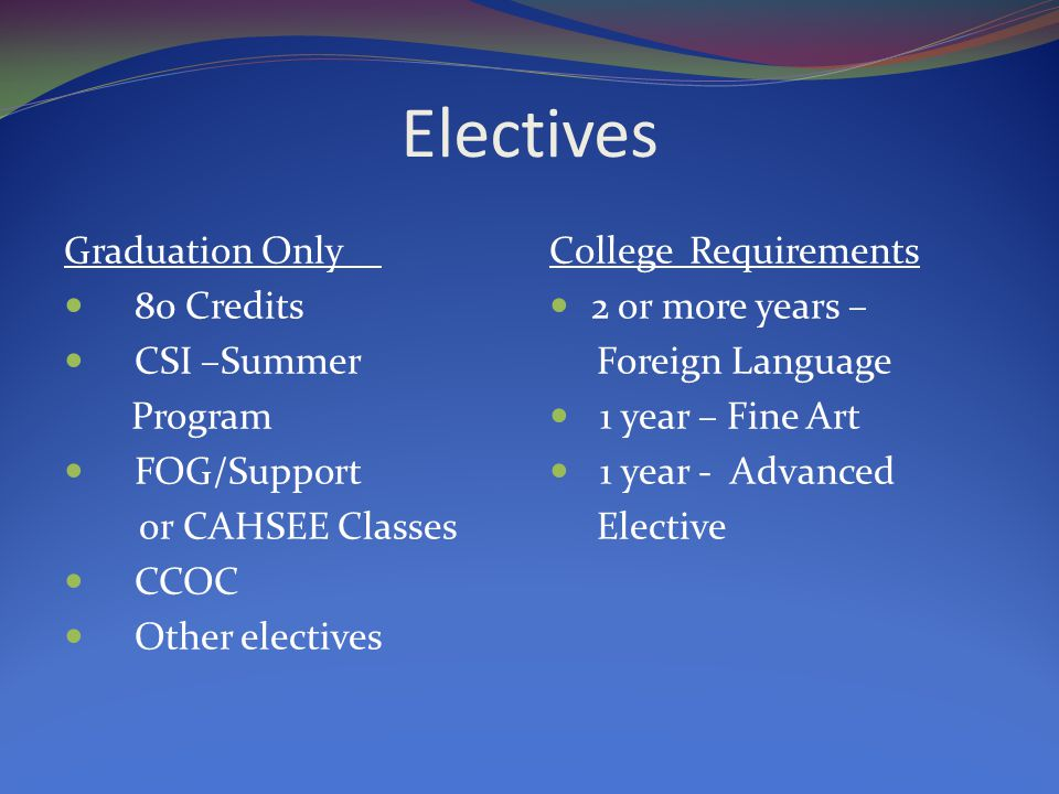 Electives Graduation Only 80 Credits CSI –Summer Program FOG/Support or CAHSEE Classes CCOC Other electives College Requirements 2 or more years – Foreign Language 1 year – Fine Art 1 year - Advanced Elective