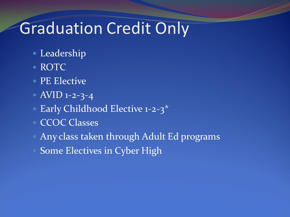 Graduation Credit Only Leadership ROTC PE Elective AVID 1-2-3-4 Early Childhood Elective 1-2-3* CCOC Classes Any class taken through Adult Ed programs Some Electives in Cyber High