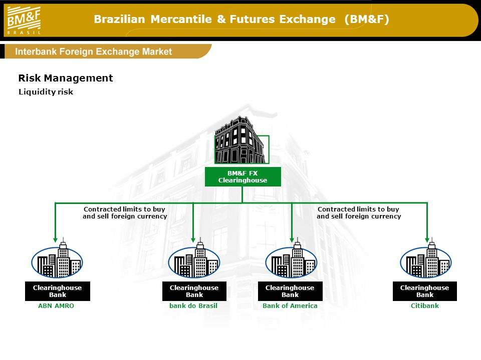 Brazilian Mercantile & Futures Exchange (BM&F) 5_g3 Contracted limits to buy and sell foreign currency BM&F FX Clearinghouse Risk Management Liquidity risk Clearinghouse Bank ABN AMRO Clearinghouse Bank bank do Brasil Clearinghouse Bank Bank of America Clearinghouse Bank Citibank Contracted limits to buy and sell foreign currency