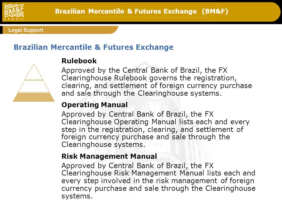 Brazilian Mercantile & Futures Exchange (BM&F) Rulebook Approved by the Central Bank of Brazil, the FX Clearinghouse Rulebook governs the registration, clearing, and settlement of foreign currency purchase and sale through the Clearinghouse systems.