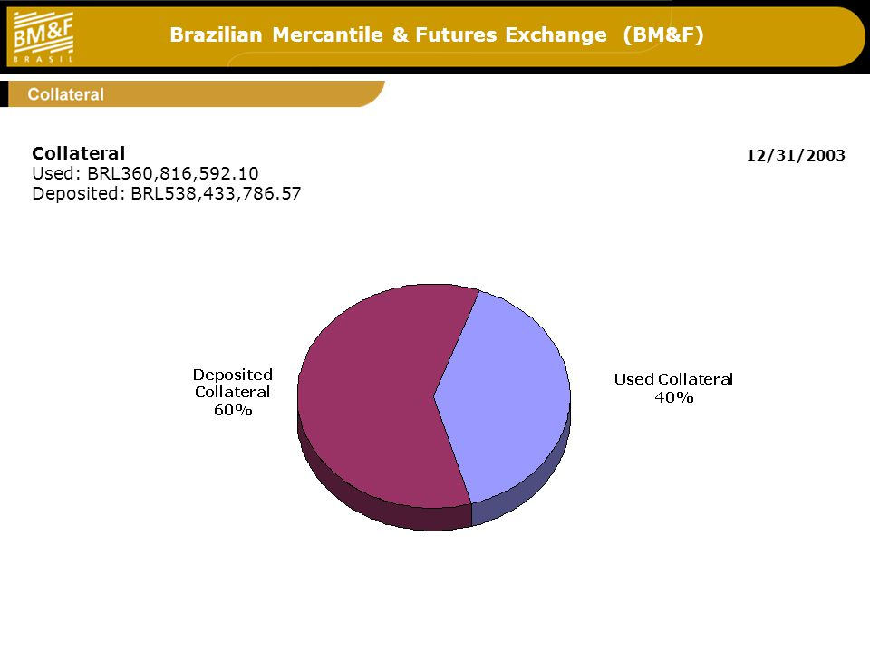 Brazilian Mercantile & Futures Exchange (BM&F) 7 Collateral Used: BRL360,816,592.10 Deposited: BRL538,433,786.57 12/31/2003