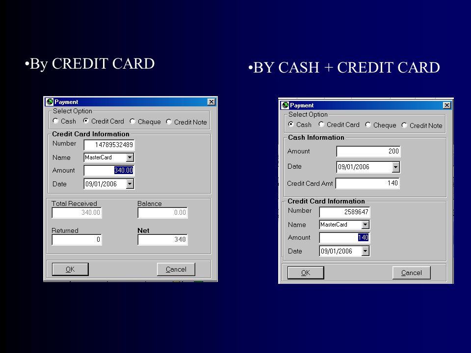 By CREDIT CARD BY CASH + CREDIT CARD