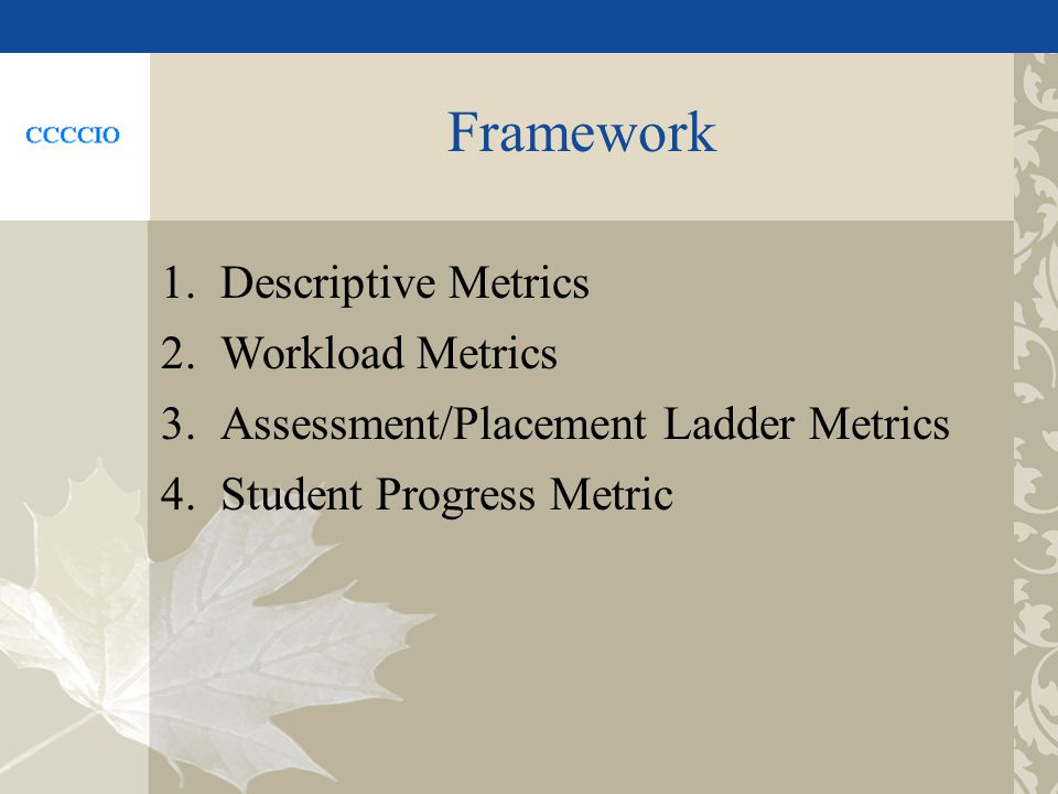 Framework 1.Descriptive Metrics 2.Workload Metrics 3.Assessment/Placement Ladder Metrics 4.Student Progress Metric