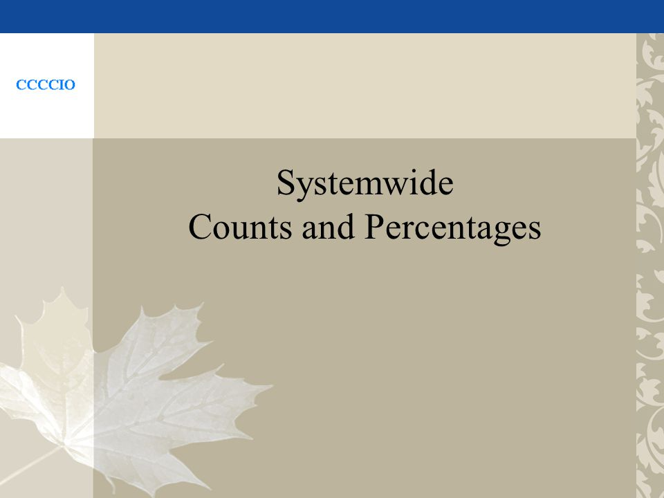 Systemwide Counts and Percentages
