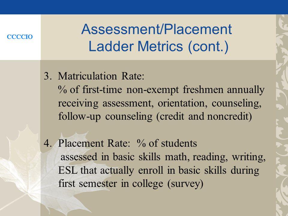 Assessment/Placement Ladder Metrics (cont.) 3.