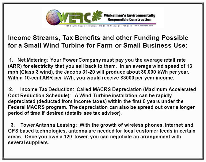 Income Streams, Tax Benefits and other Funding Possible for a Small Wind Turbine for Farm or Small Business Use: 1.