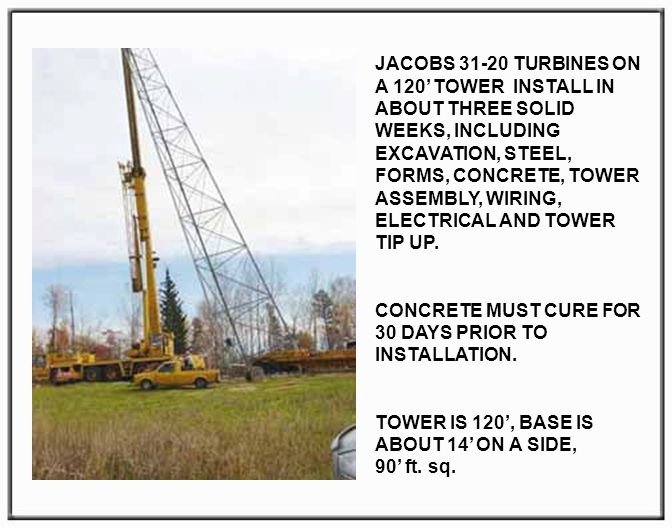 JACOBS 31-20 TURBINES ON A 120 TOWER INSTALL IN ABOUT THREE SOLID WEEKS, INCLUDING EXCAVATION, STEEL, FORMS, CONCRETE, TOWER ASSEMBLY, WIRING, ELECTRICAL AND TOWER TIP UP.