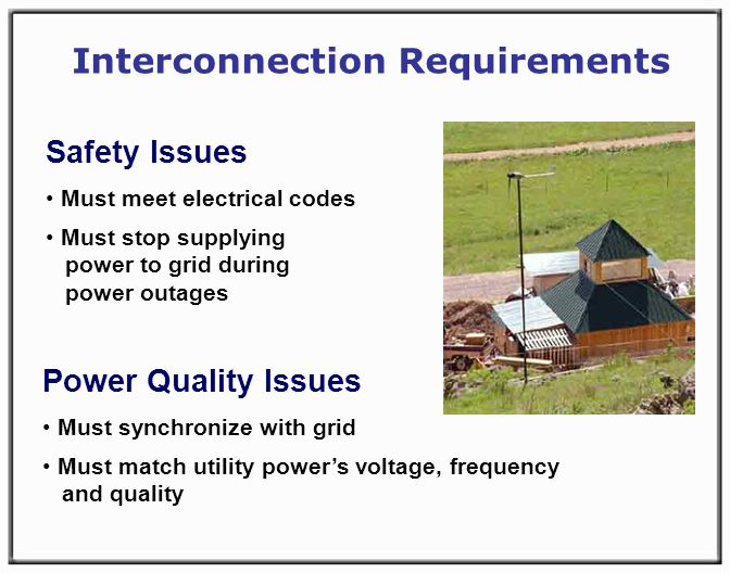Power Quality Issues Must synchronize with grid Must match utility powers voltage, frequency and quality Interconnection Requirements Safety Issues Must meet electrical codes Must stop supplying power to grid during power outages
