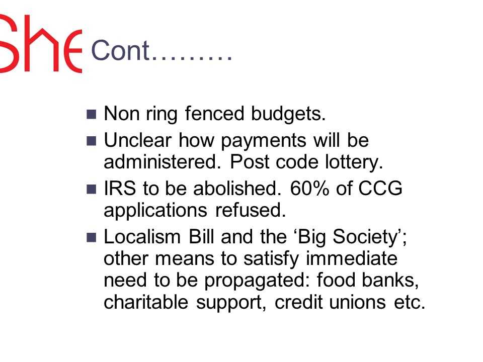 Cont……… Non ring fenced budgets. Unclear how payments will be administered.