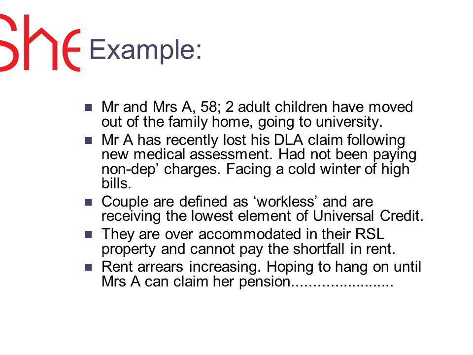 Example: Mr and Mrs A, 58; 2 adult children have moved out of the family home, going to university.