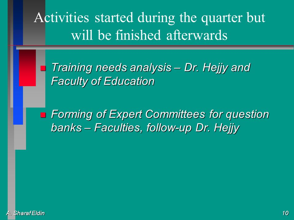 A. Sharaf Eldin 10 Activities started during the quarter but will be finished afterwards n Training needs analysis – Dr. Hejjy and Faculty of Educatio