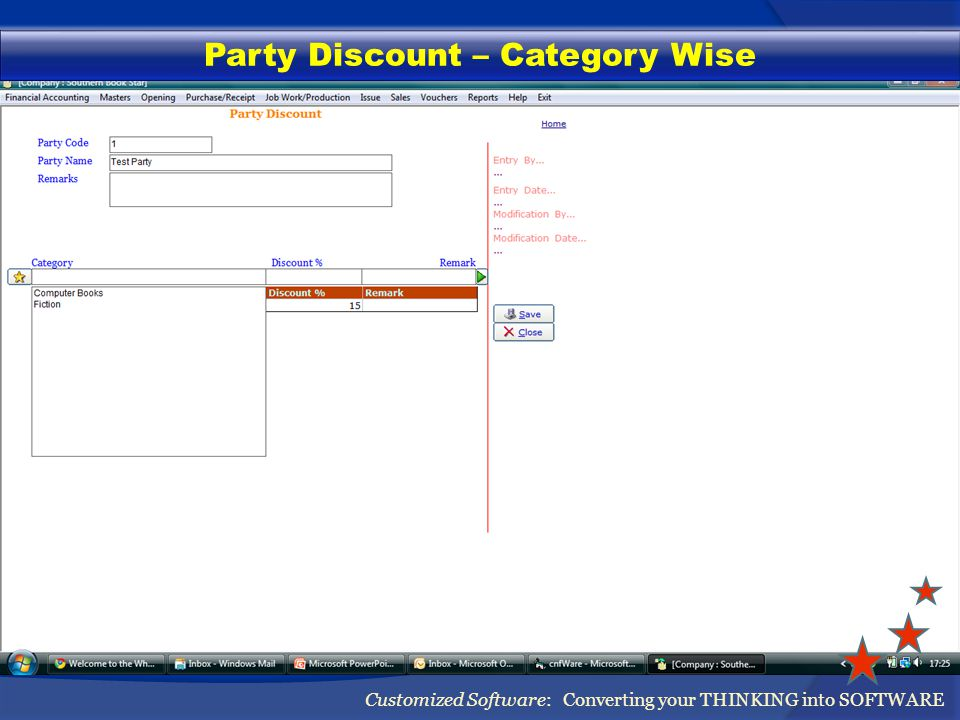 Party Discount – Category Wise Customized Software: Converting your THINKING into SOFTWARE