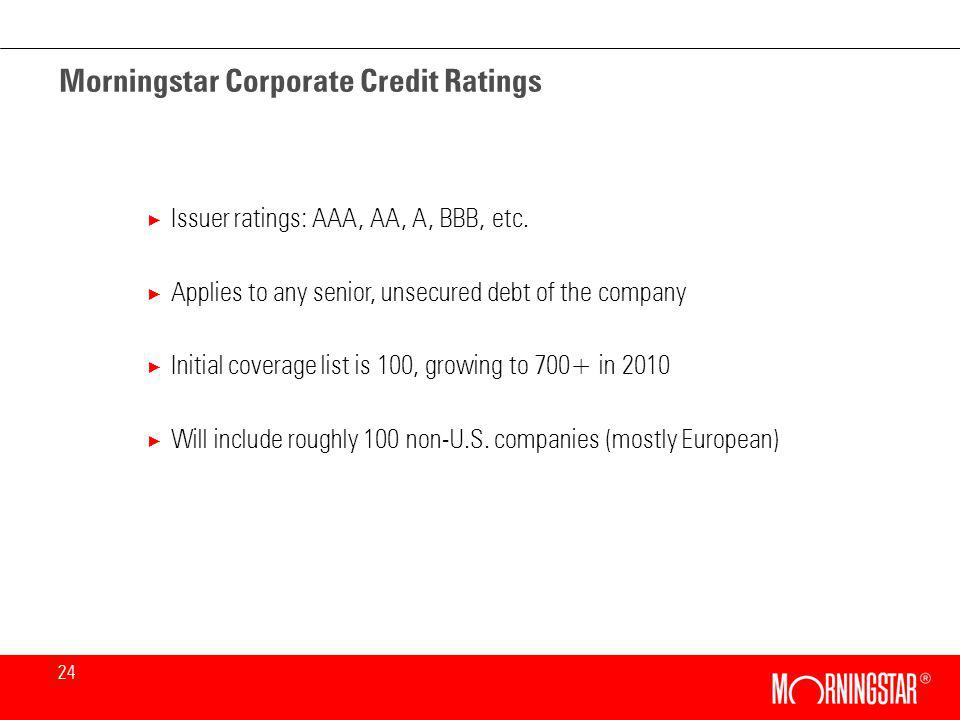 24 Morningstar Corporate Credit Ratings × Issuer ratings: AAA, AA, A, BBB, etc.