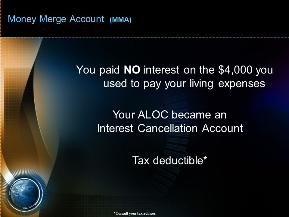Money Merge Account (MMA) You paid NO interest on the $4,000 you used to pay your living expenses *Consult your tax advisor. Your ALOC became an Inter