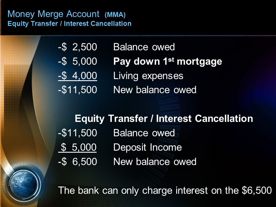 Money Merge Account (MMA) Equity Transfer / Interest Cancellation -$ 2,500Balance owed -$ 5,000Pay down 1 st mortgage -$ 4,000Living expenses -$11,500