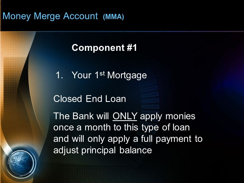 Money Merge Account (MMA) Closed End Loan $200,000 Principal loan amount 6% Interest $ 1,199 Monthly payment X 360 Months (30 year loan) $431,677 Total of payments -$200,000 Principal loan amount $231,677 Total interest paid