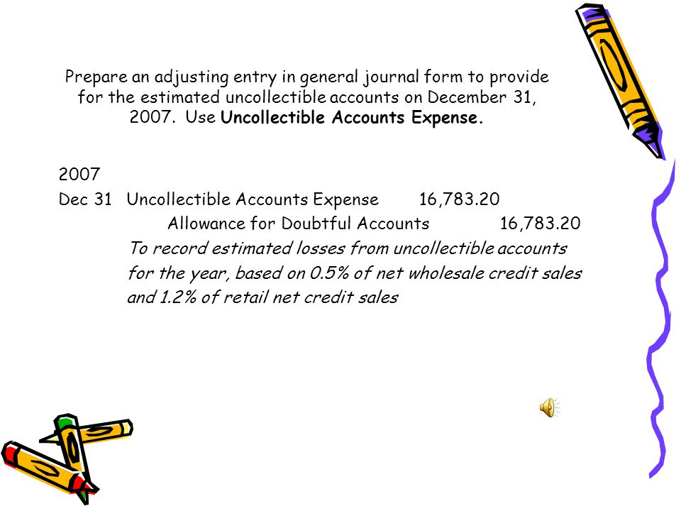 Compute the estimated amount of uncollectible accounts expense for each of the two categories of net credit sales for the year. Wholesale ($2,040,000