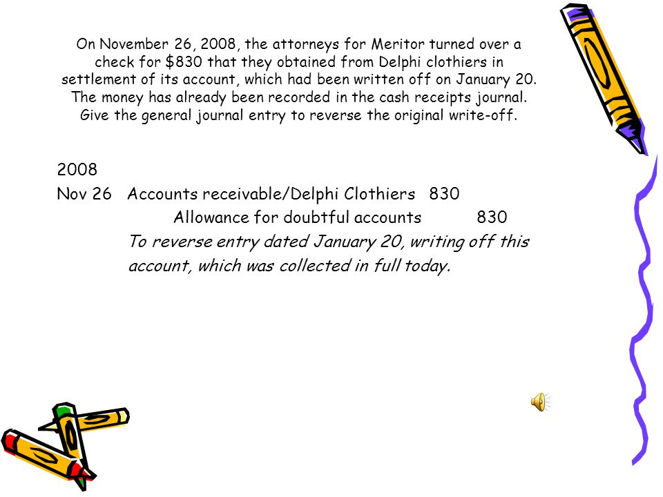 On January 20, 2008, the account receivable of Delphi Clothiers, amounting to $830, is determined to be uncollectible and is to be written off. Record