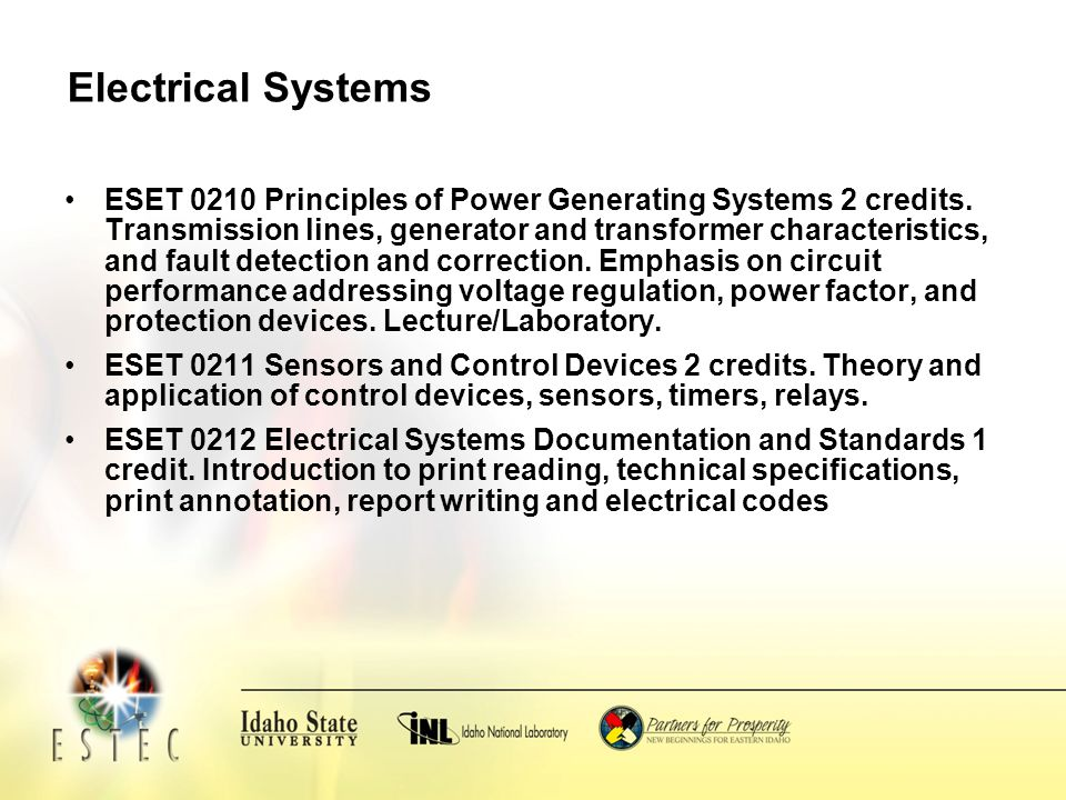 Electrical Systems ESET 0210 Principles of Power Generating Systems 2 credits.