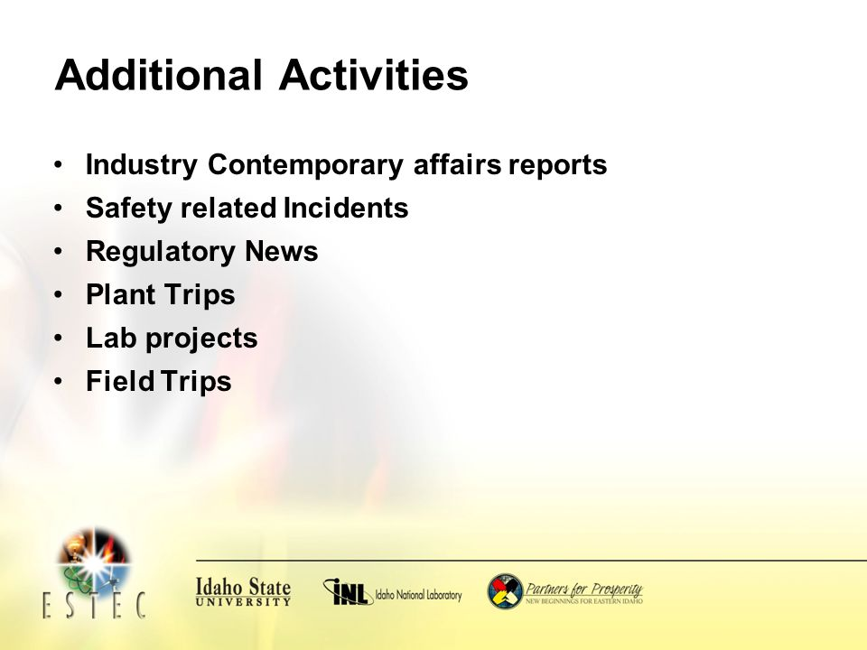 Additional Activities Industry Contemporary affairs reports Safety related Incidents Regulatory News Plant Trips Lab projects Field Trips