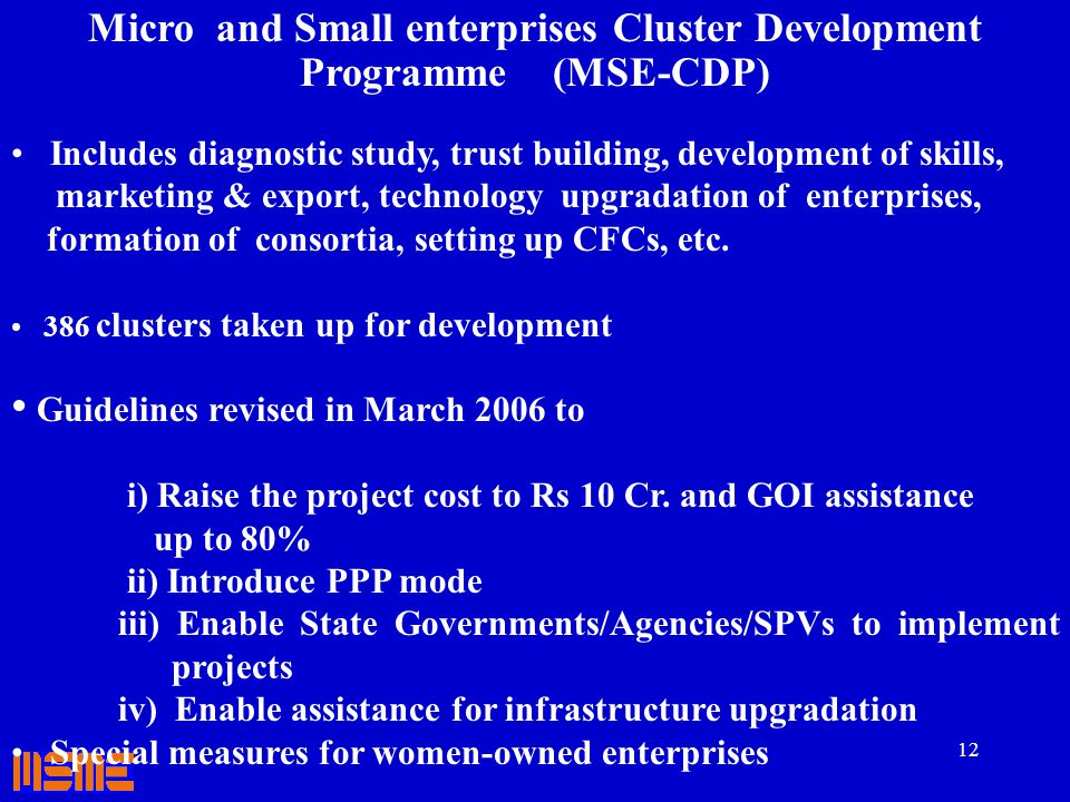 12 Micro and Small enterprises Cluster Development Programme (MSE-CDP) Includes diagnostic study, trust building, development of skills, marketing & e