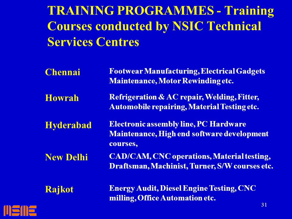 31 TRAINING PROGRAMMES - Training Courses conducted by NSIC Technical Services Centres Chennai Footwear Manufacturing, Electrical Gadgets Maintenance,