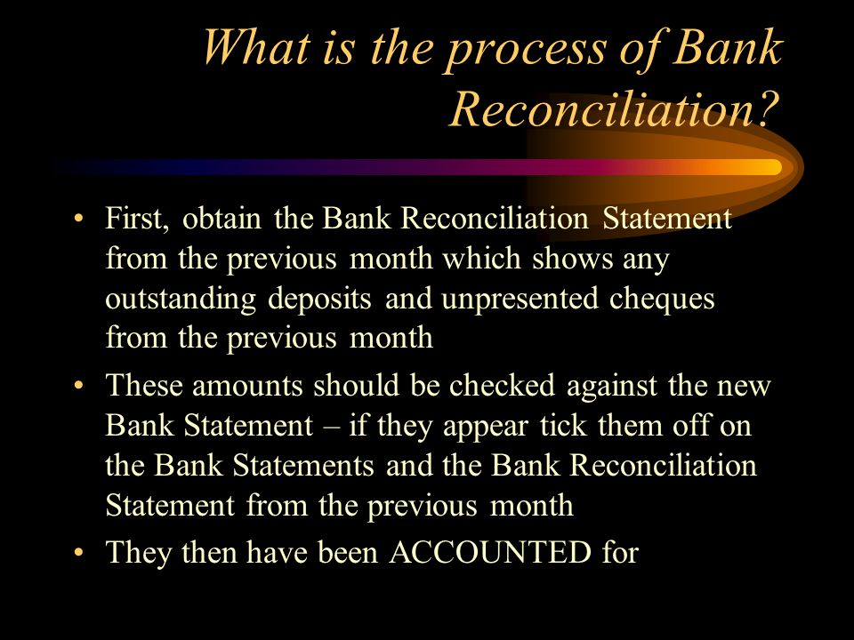 What is the process of Bank Reconciliation.