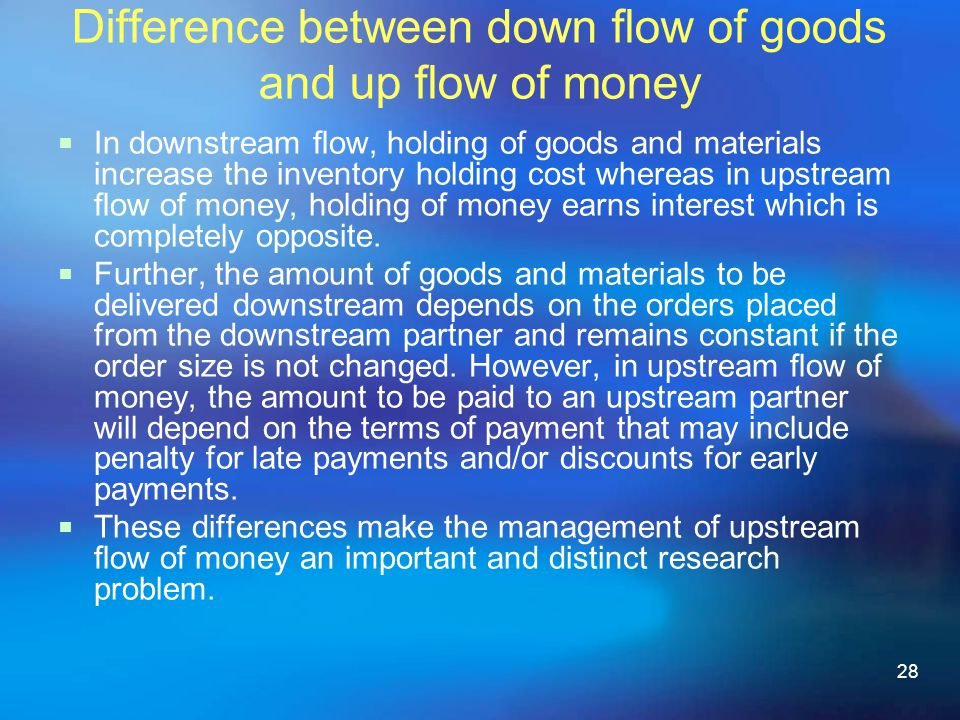 28 Difference between down flow of goods and up flow of money In downstream ow, holding of goods and materials increase the inventory holding cost whereas in upstream ow of money, holding of money earns interest which is completely opposite.