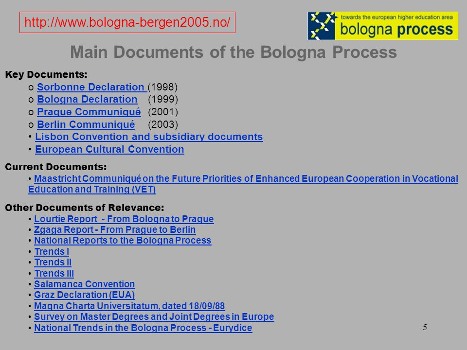 5 Main Documents of the Bologna Process Key Documents: o Sorbonne Declaration (1998)Sorbonne Declaration o Bologna Declaration (1999)Bologna Declaration o Prague Communiqué (2001)Prague Communiqué o Berlin Communiqué (2003)Berlin Communiqué Lisbon Convention and subsidiary documents European Cultural Convention Current Documents: Maastricht Communiqué on the Future Priorities of Enhanced European Cooperation in Vocational Education and Training (VET) Other Documents of Relevance: Lourtie Report - From Bologna to Prague Zgaga Report - From Prague to Berlin National Reports to the Bologna Process Trends I Trends II Trends III Salamanca Convention Graz Declaration (EUA) Magna Charta Universitatum, dated 18/09/88 Survey on Master Degrees and Joint Degrees in Europe National Trends in the Bologna Process - Eurydice