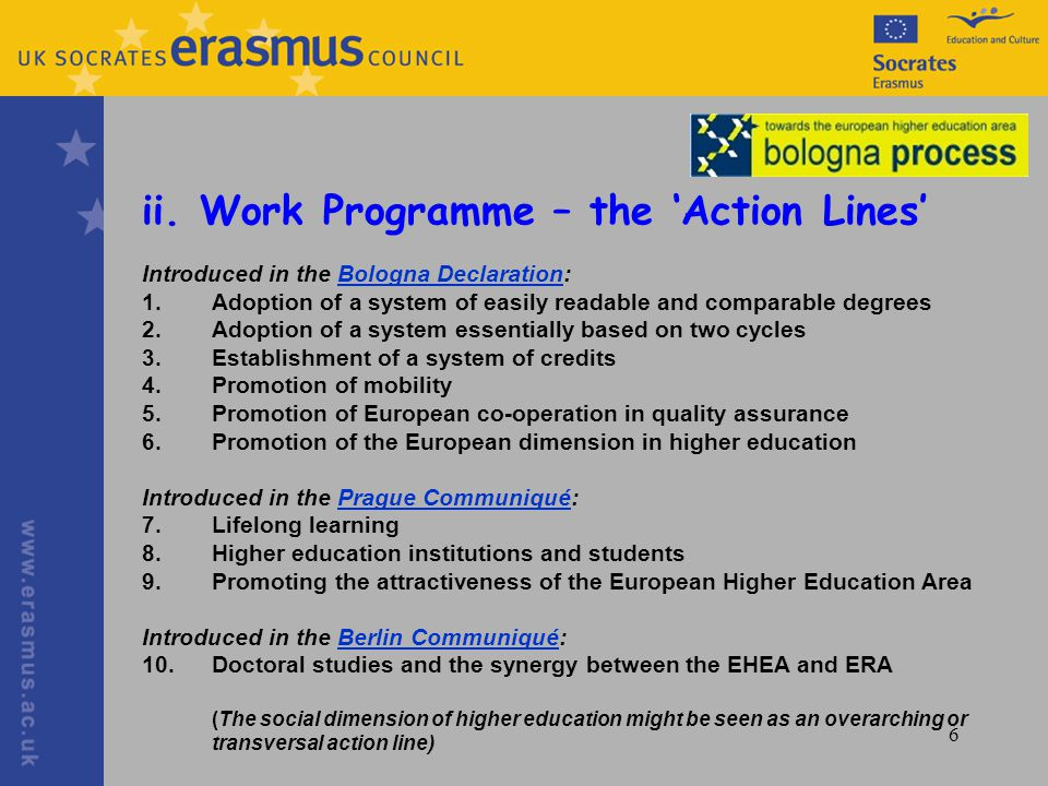 6 ii. Work Programme – the Action Lines Introduced in the Bologna Declaration:Bologna Declaration 1.Adoption of a system of easily readable and compar