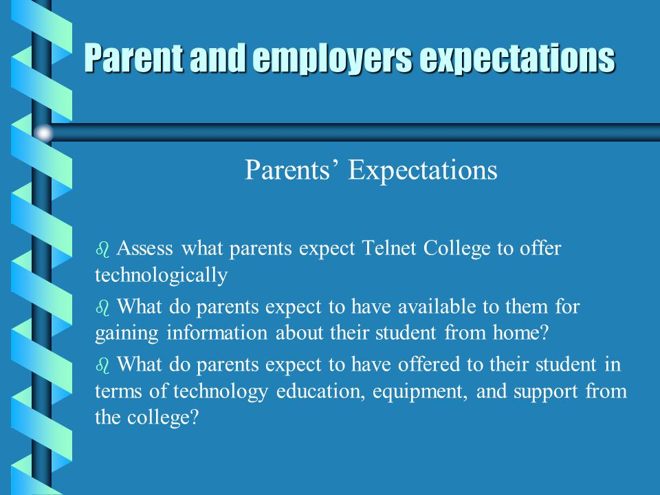 Parent and employers expectations Parents Expectations b b Assess what parents expect Telnet College to offer technologically b b What do parents expect to have available to them for gaining information about their student from home.