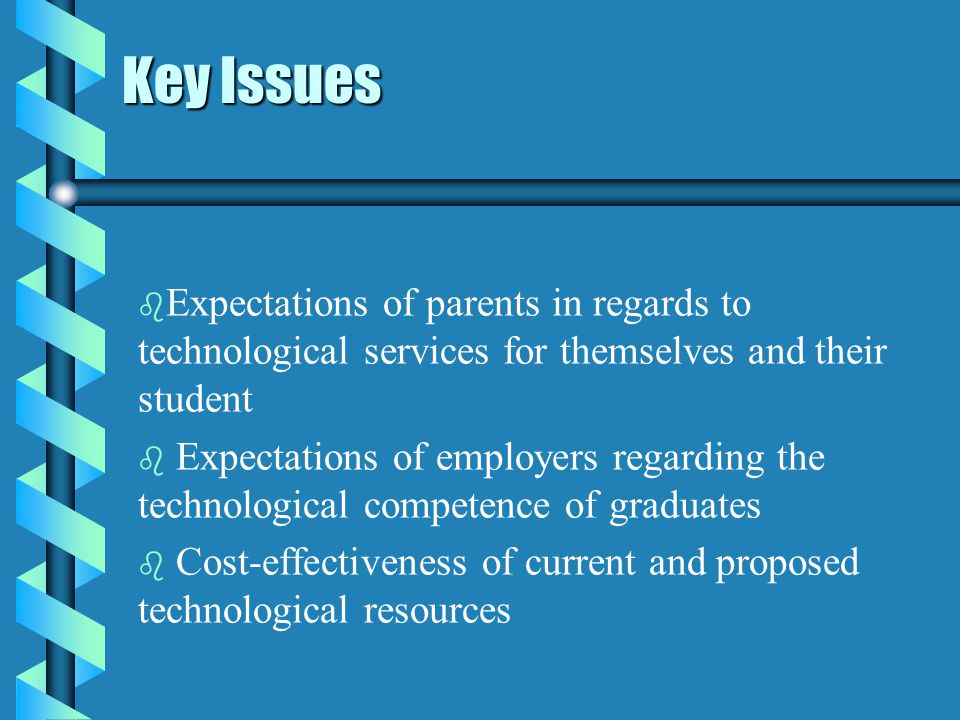 Key Issues b b Expectations of parents in regards to technological services for themselves and their student b b Expectations of employers regarding the technological competence of graduates b b Cost-effectiveness of current and proposed technological resources