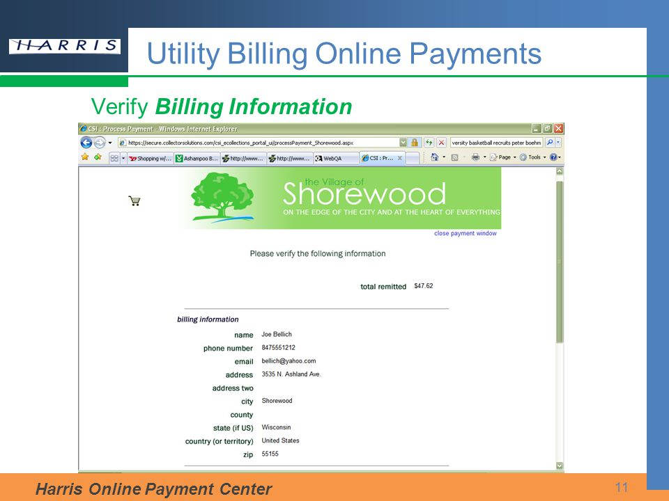 Harris Online Payment Center 11 Verify Billing Information Utility Billing Online Payments