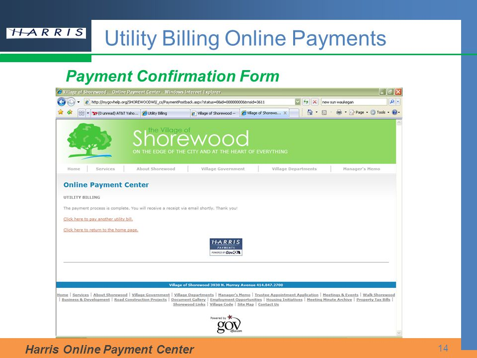 Harris Online Payment Center 14 Payment Confirmation Form Utility Billing Online Payments