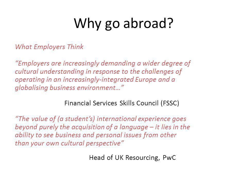 Why go abroad.