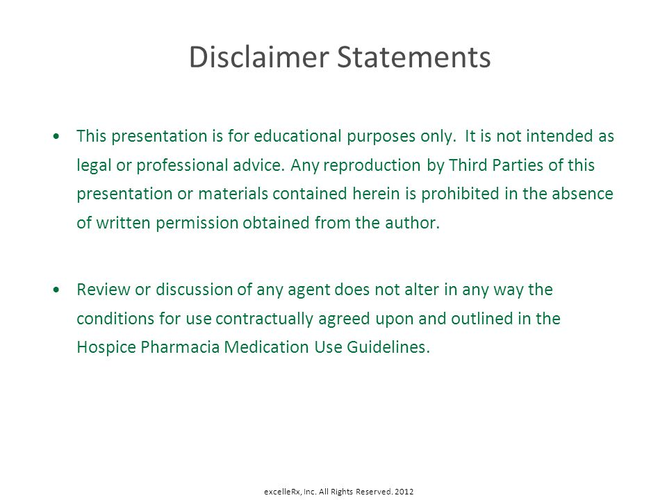 Disclaimer Statements This presentation is for educational purposes only. It is not intended as legal or professional advice. Any reproduction by Thir