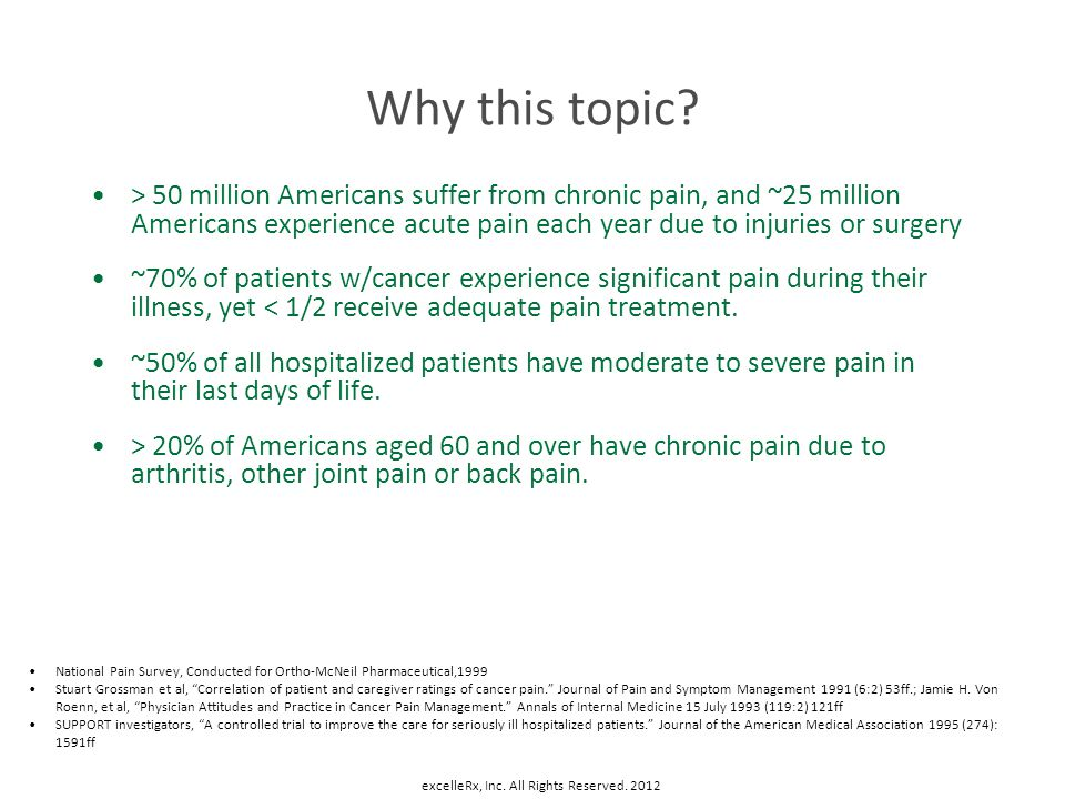 Why this topic? > 50 million Americans suffer from chronic pain, and ~25 million Americans experience acute pain each year due to injuries or surgery
