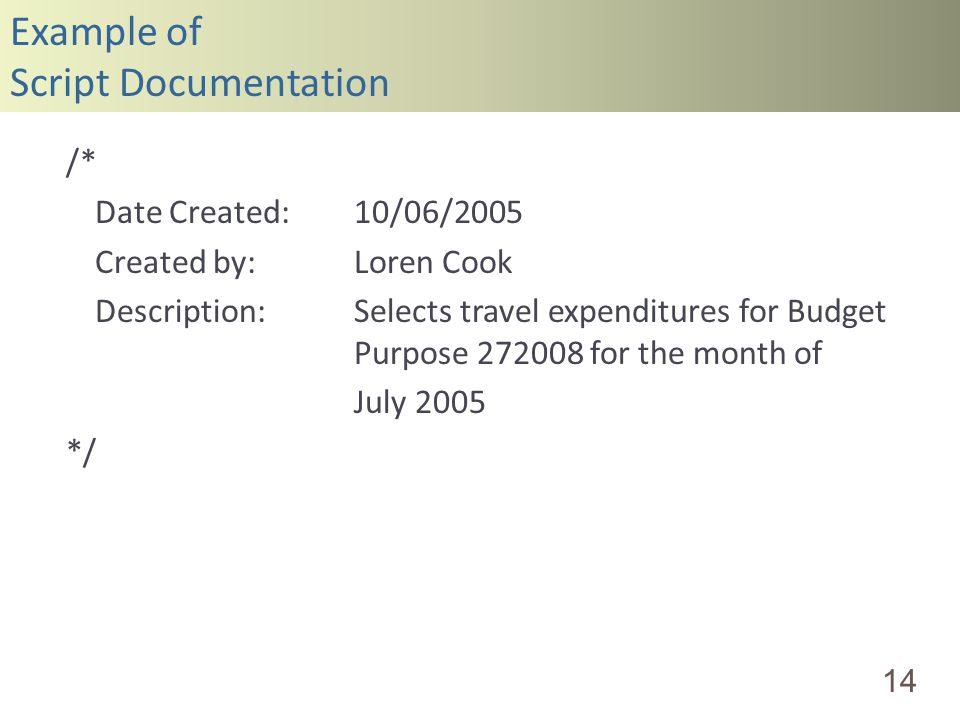 Example of Script Documentation 14 /* Date Created:10/06/2005 Created by:Loren Cook Description:Selects travel expenditures for Budget Purpose 272008