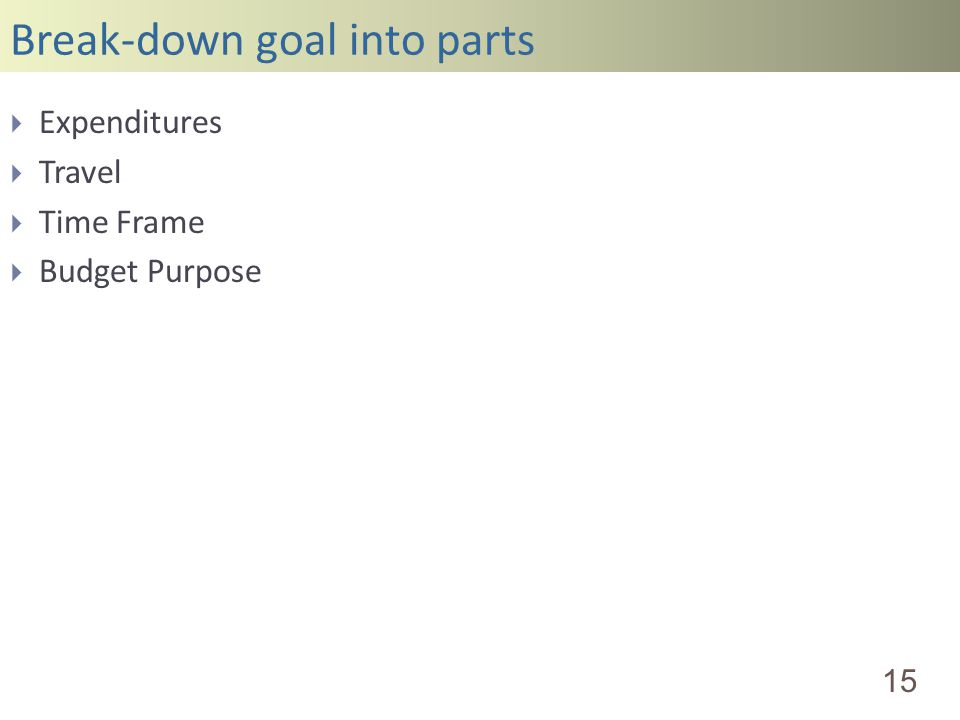 Break-down goal into parts 15 Expenditures Travel Time Frame Budget Purpose