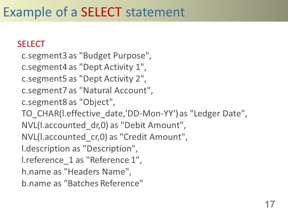 Example of a SELECT statement 17 SELECT c.segment3 as Budget Purpose , c.segment4 as Dept Activity 1 , c.segment5 as Dept Activity 2 , c.segment7 as Natural Account , c.segment8 as Object , TO_CHAR(l.effective_date, DD-Mon-YY ) as Ledger Date , NVL(l.accounted_dr,0) as Debit Amount , NVL(l.accounted_cr,0) as Credit Amount , l.description as Description , l.reference_1 as Reference 1 , h.name as Headers Name , b.name as Batches Reference