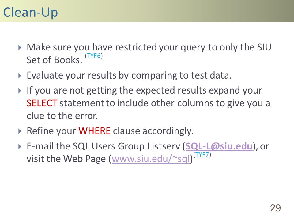 Clean-Up 29 Make sure you have restricted your query to only the SIU Set of Books.
