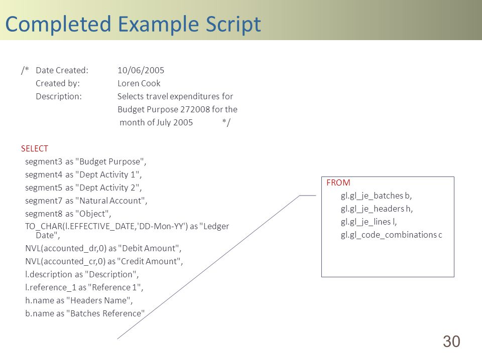 Completed Example Script 30 /*Date Created:10/06/2005 Created by:Loren Cook Description:Selects travel expenditures for Budget Purpose 272008 for the month of July 2005 */ SELECT segment3 as Budget Purpose , segment4 as Dept Activity 1 , segment5 as Dept Activity 2 , segment7 as Natural Account , segment8 as Object , TO_CHAR(l.EFFECTIVE_DATE, DD-Mon-YY ) as Ledger Date , NVL(accounted_dr,0) as Debit Amount , NVL(accounted_cr,0) as Credit Amount , l.description as Description , l.reference_1 as Reference 1 , h.name as Headers Name , b.name as Batches Reference FROM gl.gl_je_batches b, gl.gl_je_headers h, gl.gl_je_lines l, gl.gl_code_combinations c