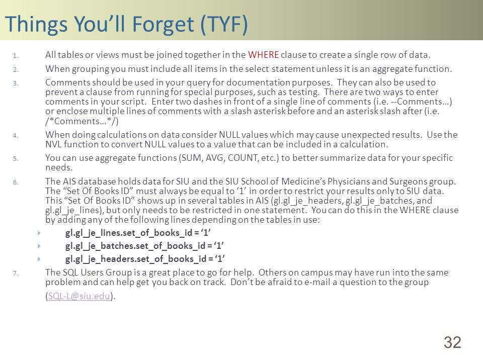 Things Youll Forget (TYF) 32 1.