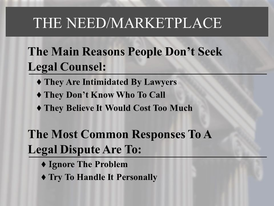 They Are Intimidated By Lawyers They Dont Know Who To Call They Believe It Would Cost Too Much Ig nore The Problem Try To Handle It Personally The Main Reasons People Dont Seek Legal Counsel: The Most Common Responses To A Legal Dispute Are To: