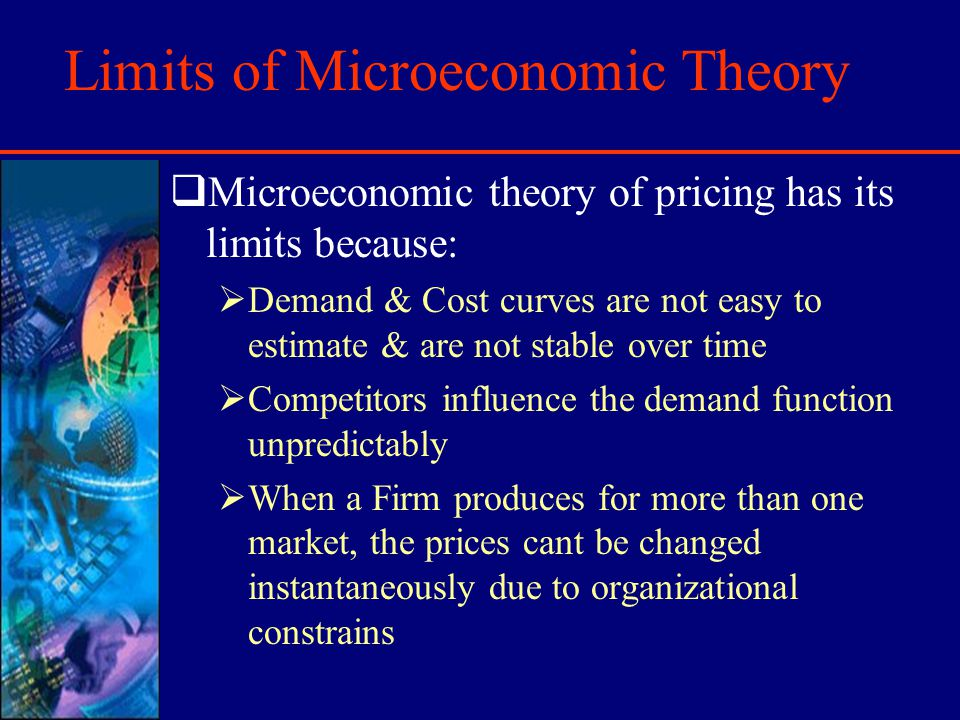 Limits of Microeconomic Theory Microeconomic theory of pricing has its limits because: Demand & Cost curves are not easy to estimate & are not stable