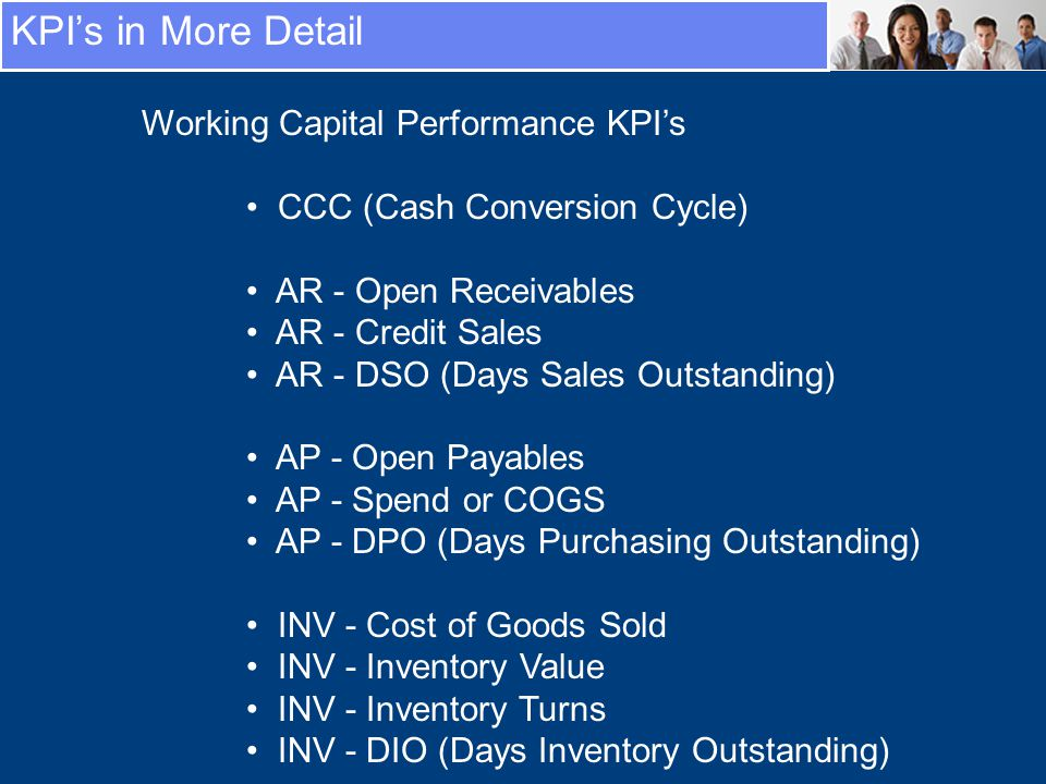 KPIs in More Detail Working Capital Performance KPIs CCC (Cash Conversion Cycle) AR - Open Receivables AR - Credit Sales AR - DSO (Days Sales Outstanding) AP - Open Payables AP - Spend or COGS AP - DPO (Days Purchasing Outstanding) INV - Cost of Goods Sold INV - Inventory Value INV - Inventory Turns INV - DIO (Days Inventory Outstanding)