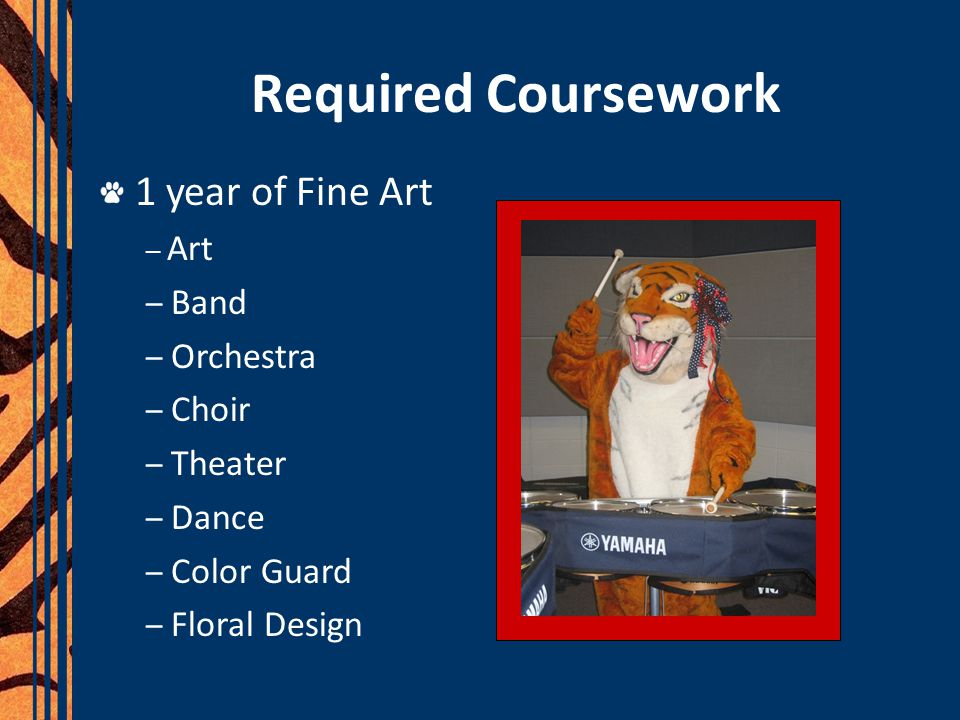 Required Coursework 1 year of Fine Art – Art – Band – Orchestra – Choir – Theater – Dance – Color Guard – Floral Design