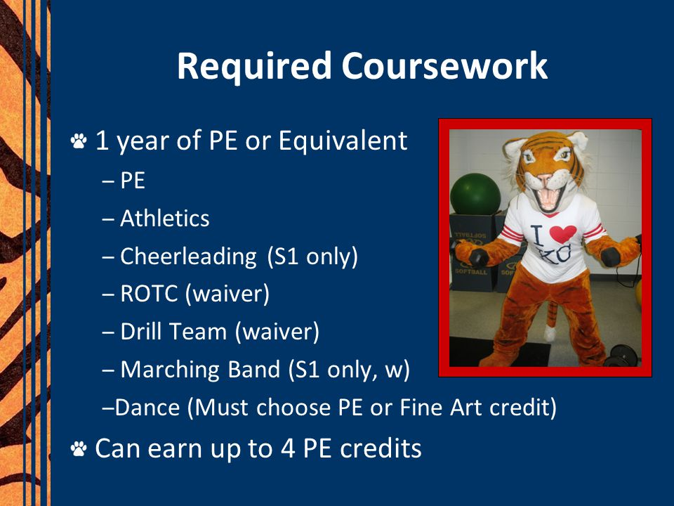 Required Coursework 1 year of PE or Equivalent – PE – Athletics – Cheerleading (S1 only) – ROTC (waiver) – Drill Team (waiver) – Marching Band (S1 onl