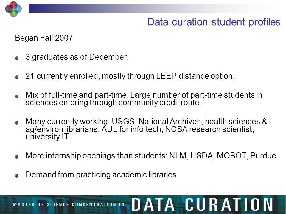 Data curation student profiles Began Fall 2007 3 graduates as of December.