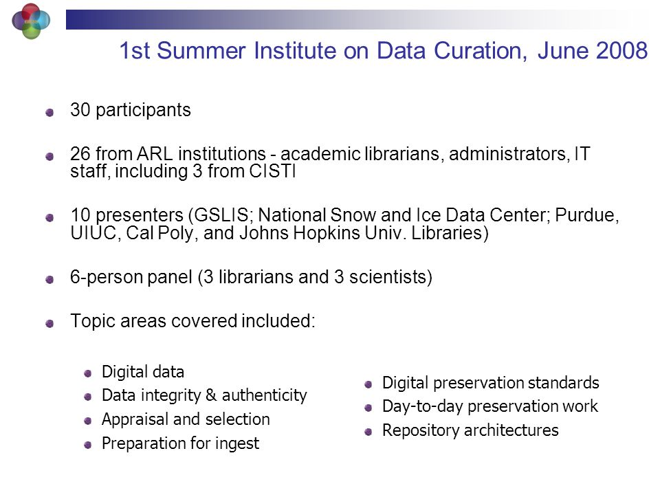 1st Summer Institute on Data Curation, June 2008 30 participants 26 from ARL institutions - academic librarians, administrators, IT staff, including 3 from CISTI 10 presenters (GSLIS; National Snow and Ice Data Center; Purdue, UIUC, Cal Poly, and Johns Hopkins Univ.